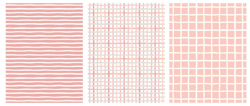 Set of 3 Hand Drawn Irregular Geometric Patterns. Horizontal White Stripes on a Pink Background. Pink and Beige Grid on a White. White Grid on a Pink. Cute Infantile Repeatable Design.