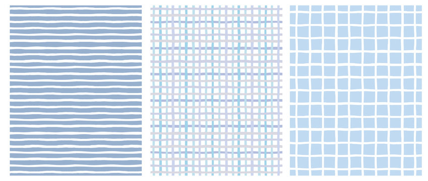 Set of 3 Hand Drawn Irregular Geometric Patterns. Horizontal White Stripes on a Blue Background. Blue and Beige Grid on a White. White Grid on a Blue. Cute Infantile Repeatable Design.