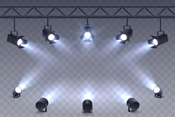 Foto auf AluDibond Licht / Schatten Realistic Spotlights isolated on transparent background. Scene illumination. Suspended and standing lighting. Elements for photo studio, show, scene. Vector illustration.