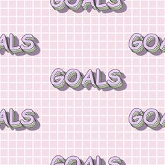 Garden Poster Retro sign cute goals seamless pattern