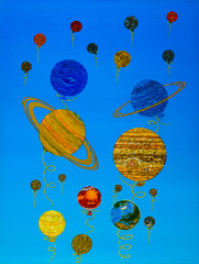 Graduation. Exhaust. The solar system as a holiday - the last day of school. Children release balloons. From a cloudless childhood to a thundery adult Life, moving away from the heat of the sun.