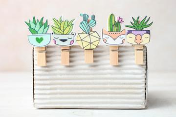 Set of cute cartoon clothespins kawaii cactus