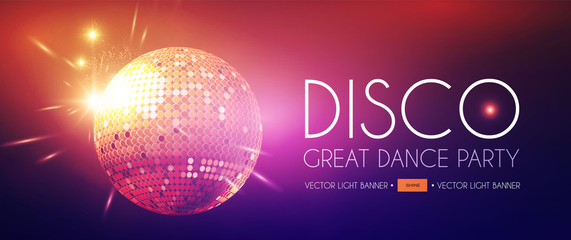 Disco Party Flyer Templatr with Mirror Ball and Light Effects.