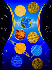 Hourglass. The solar system in the form of an hourglass. The sun is a clock. Planets - grains of sand.