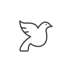 Wedding dove line icon. linear style sign for mobile concept and web design. Wedding pigeon outline vector icon. Dove Bird symbol, logo illustration. Pixel perfect vector graphics