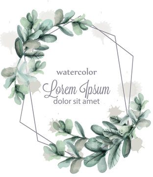 Leaves abstract wreath frame Vector watercolor. Wild green card decorations