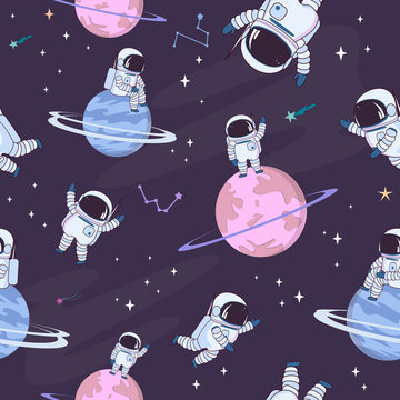 Sweet space seamless pattern with fantasy chocolate cookie, candy, donut, caramel sweets planets and astronaut. Editable vector illustration