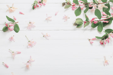 branches of  bush with pink flowers on wooden background