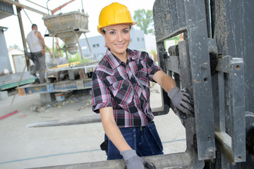 happy female construction worker