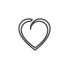 Beautiful heart shape line icon. linear style sign for mobile concept and web design. Abstract heart outline vector icon. Love and valentine day symbol logo illustration. Pixel perfect vector graphics