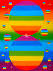 Touch. Rainbow - a natural phenomenon of the planet Earth. The touch of two balls of the rainbow. Spark, a touch of two different colors.