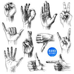 Set of different hand drawn gestures