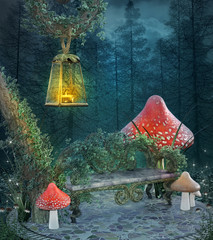 Enchanted resting place with bench, mushrooms and a  lantern - 3D illustration