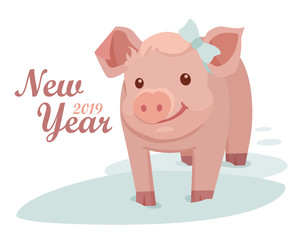 Pig is a symbol of the 2019 New Year. Greeting card with a cute little pig