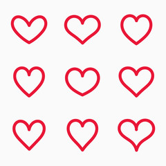 Set of red line hearts icons.