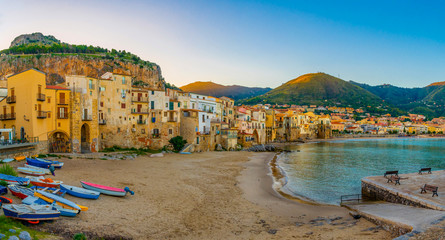 Overlooking the picturesque sicilian town Cefalu in Sicily, Italy