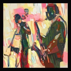 Poster de jardin Art Studio Jazz with saxophone and double-bass