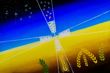 Transformation.  Mill of Destiny converts ripe grains into Stars. Above the Pleiades constellation, symbolic for the Earth.