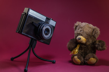 Old retro camera on red background on tripod shooting toy teddy bear.