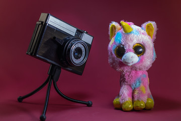 Old retro camera on red background on tripod shooting toy unicorn