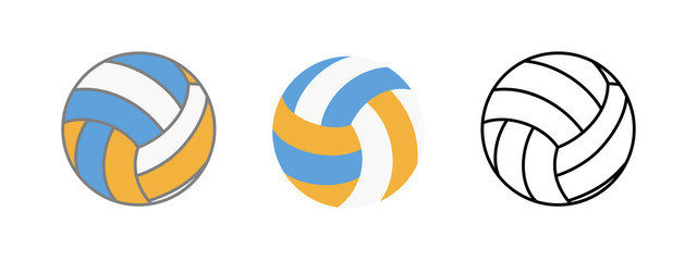 Ball for playing volleyball icon. Realistic, flat and line illustration of ball for playing volleyball vector icon for web isolated on white background.