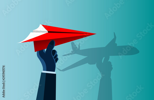 Hand Human That Caught The Red Paper Plane There Is A Shadow On The