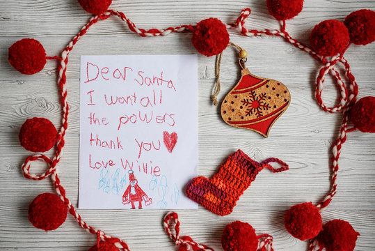 A letter to Santa asking for superhero powers
