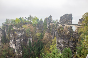 Bastai Dresden Germany.Park Saxon Switzerland.The cliffs are located not far from Rathen near the town of Pirne in the south-east of Dresden.The rocks in the fog.Beautiful landscape.Mountains travel.