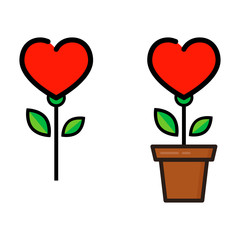 cartoon heart flower in a pot vector set
