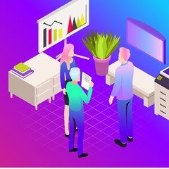 Vector illustration of office. Business icons. Communication between people. Work for company