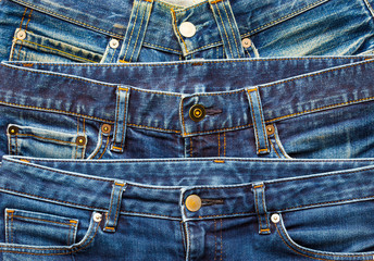 Blue jeans in stack