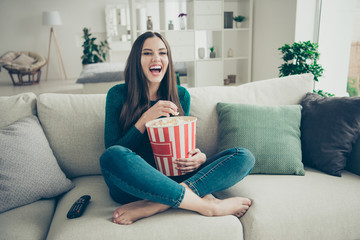 Humorous pretty with open mouth charming cute she her lady student teen enjoying funny reality show on tv on weekend vacation