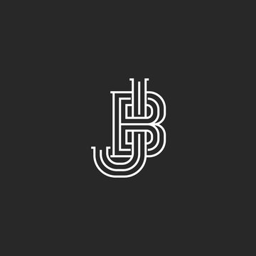 Creative logo JB or BJ initials logo monogram, thin lines two letters together J and B combination