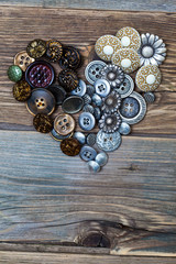 Heart from vintage colored buttons