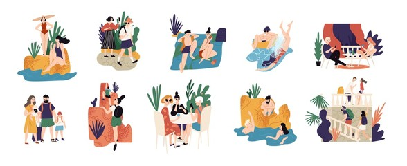 Collection of vacation activities or scenes - people hiking, swimming, sunbathing, diving, sightseeing during summer adventure trip or journey. Colorful vector illustration in flat cartoon style.