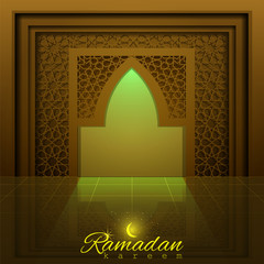 Ramadan Kareem with beautiful mosque door and islamic pattern for banner, background and greeting card