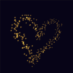 Valentine Day vector background with sparkles glitter heart shape. Holiday design
