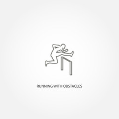 Man figure jumping over obstacles vector icon