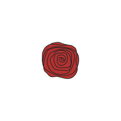 Red rose stylized decoration ornament. Red rose vintage style vector desigh element.