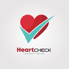 Heart Check up with Heart Icons and  check mark Logo template.