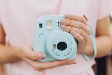 instant print camera blue hands girl manicure