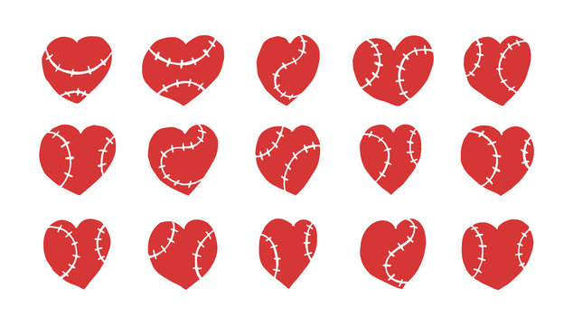 Collection of vector hearts for baseball isolated. Hand drawing, sketch elements for design for Valentine's Day, print on T-shirt, postcard, cover.