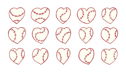 Sketch a collection of hearts for baseball. Hand-drawing, sports elements for design on t-shirt, card, cover, Valentine's day. Print design for t-shirt.