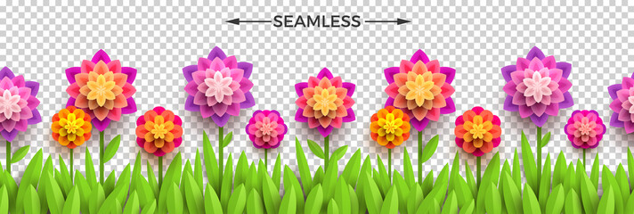 Fake paper flowers and grass on a checkered background. Horizontal seamless design. Vector illustration. Can be used on any background.