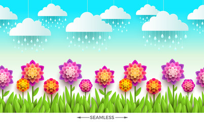 Nature scene with flowers, grass and clouds. Horizontal seamless design. Vector illustration.