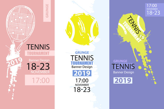 Set of color grunge designs of banners for tennis. Sketch tennis racket, dirty ball, hand drawing. Vertical Sport flyer template. Abstract background.