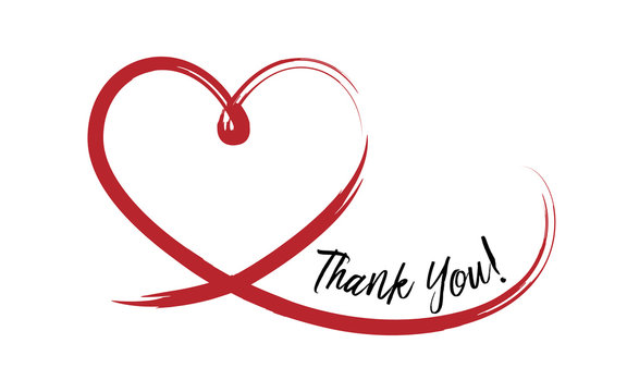 Thank You on hand drawn heart