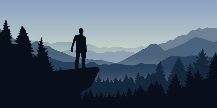 man stands on a cliff in the forest with mountain view nature landscape vector illustration EPS10