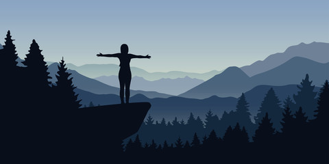 happy woman stands on a cliff in the forest with mountain view nature landscape vector illustration EPS10