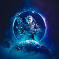 Young female space cadet / 3D illustration of science fiction scene showing young heroic woman astronaut with laser pulse rifle rising above moon